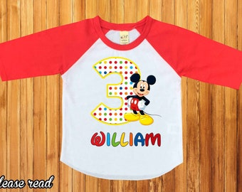Mickey Mouse Birthday ShirtMickey Shirtpersonalized Shirtmickey Party Shirtbirthday Boy Shirtfirst BirthdayH 29