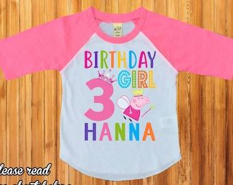 Peppa pig birthday shirt,personalized Peppa pig shirt,birthday girl shirt,peppa pig birthday party,peppa pig party,peppa pig shirt,H-44