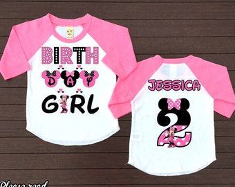 Minnie Mouse Birthday ShirtPersonalized Shirtminnie Girlraglan PartyH54