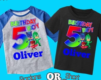 Pj Masks Birthday ShirtPj Shirtpersonalized Shirtbirthday Boy Maskspj Partycustom PartyH 37