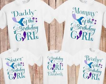2aef08619d89 Mermaid birthday shirt, Mermaid Birthday Outfit, Mermaid Birthday Party,  Little Mermaid 1st Birthday Outfit, mermaid family shirts, H143