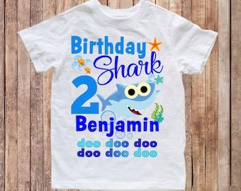 aa7b1769 Baby Shark birthday shirt, birthday baby shark shirt, first birthday baby  shirt, baby shark doo doo doo shirt, birthday shirt sharks H130