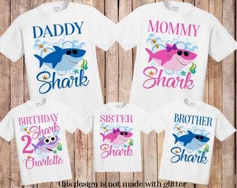 b61e98685 Baby Shark birthday shirt, baby shark shirt, baby shark family shirts, baby  shark birthday party, baby shark party, birthday girl shirt H126