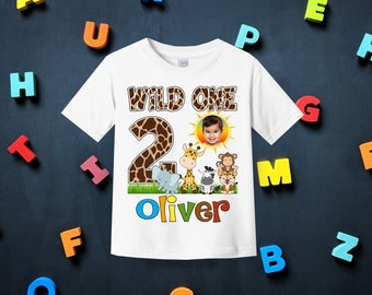 Personalized Safari Birthday Shirtfirst Shirtbaby Boy First Birthdayjungle Shirtzoo ShirtgiraffeH 4
