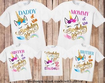 98966a86 Unicorn Birthday Shirt,Unicorn shirt,Matching Birthday Family Shirts,  personalized Unicorn Birthday Shirt,Unicorn Custom shirt, unicorn H123
