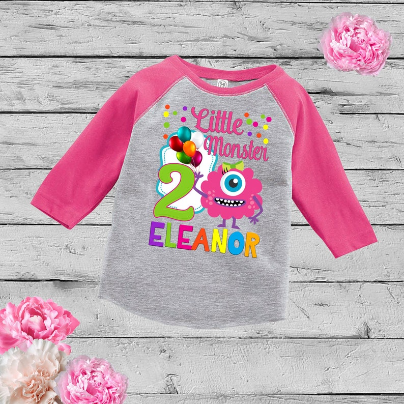 33d689e67 Little Monster Birthday ShirtPersonalized Monster Raglan | Etsy