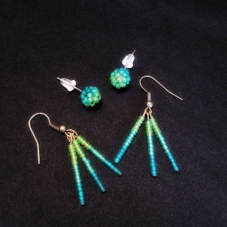 Frosted Ombre double piercing matching earrings set