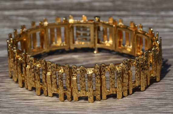 Ladies Signed Mid Century Modern 14K Gold Bracelet - image 1