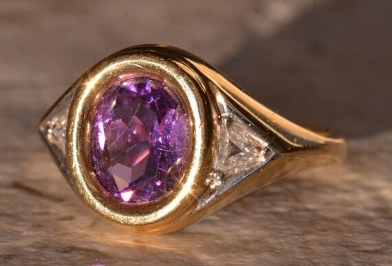 Signed Mid-Century Modern Amethyst Ring
