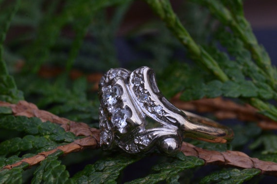 Two Tone Antique Two Stone Ring - image 6
