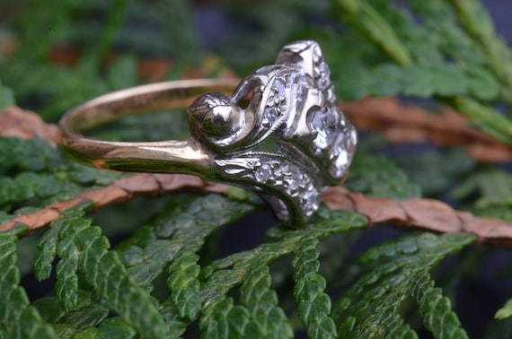 Two Tone Antique Two Stone Ring - image 2