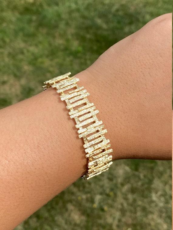 Ladies Signed Mid Century Modern 14K Gold Bracelet - image 4