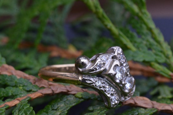 Two Tone Antique Two Stone Ring - image 5