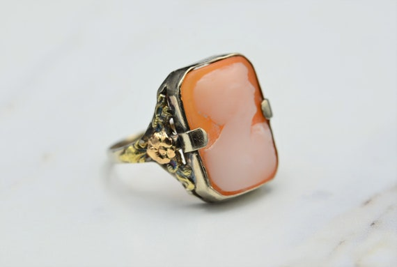 Antique Victorian Carved Cameo Ring in White Gold… - image 2