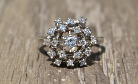 White Gold Spider Web Diamond Ring
