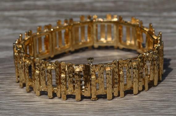 Ladies Signed Mid Century Modern 14K Gold Bracelet - image 2