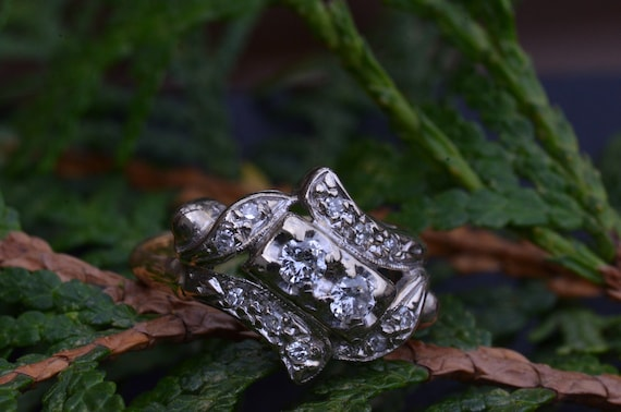Two Tone Antique Two Stone Ring - image 4