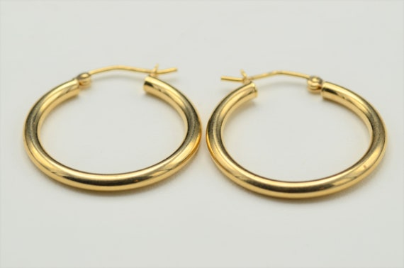 14K Yellow Gold 47mm x 2mm Classic Round Hoop Earrings Hinged Post
