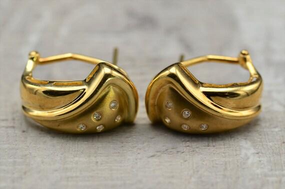 14K Yellow Gold Mid Century Modern Diamond Drop Ea