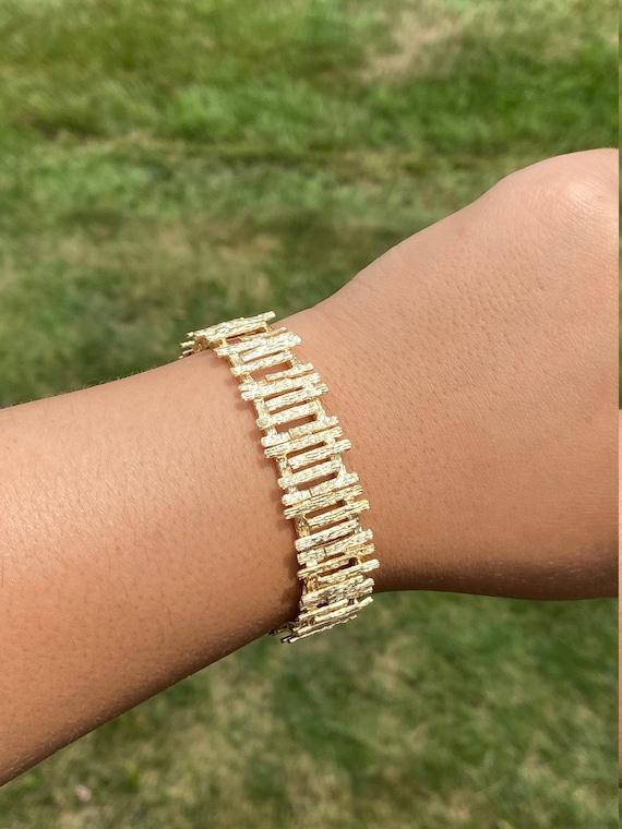 Ladies Signed Mid Century Modern 14K Gold Bracelet - image 5