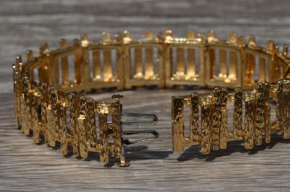 Ladies Signed Mid Century Modern 14K Gold Bracelet - image 3