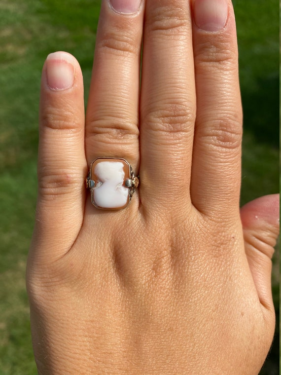 Antique Victorian Carved Cameo Ring in White Gold… - image 7
