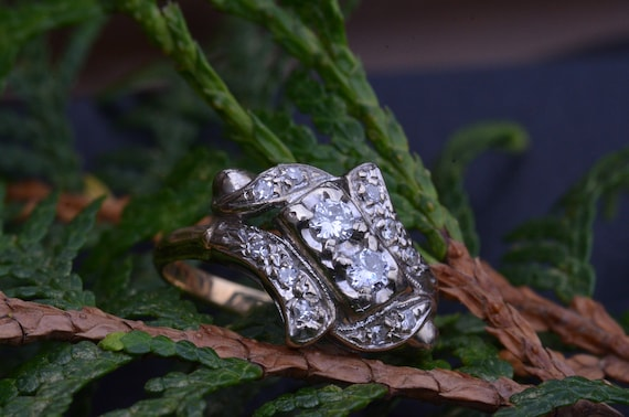 Two Tone Antique Two Stone Ring - image 7