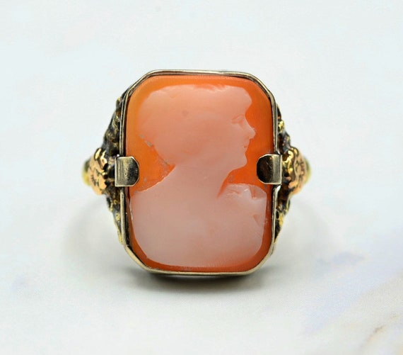 Antique Victorian Carved Cameo Ring in White Gold… - image 1