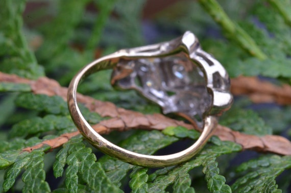 Two Tone Antique Two Stone Ring - image 3