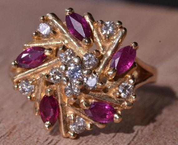 Ruby & Diamond Spiral Ring