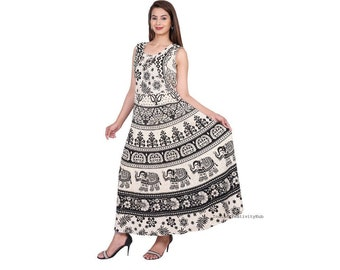 a2b9f7f6d7901 Indian Women Dress Maxi Long Bohemian Handmade Hippie Cotton Mandala Ethnic  Gypsy Boho Strapless Comfy Sleeveless Elephant Print Dresses