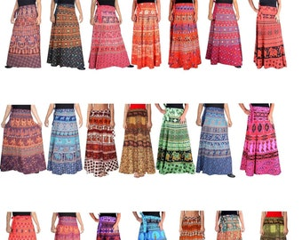 cd879085c6 5 PC Lot Indian Long Skirt Cotton Women Bohemian Wrap Skirt Gypsy Hippie  Boho Gift Double Layer Skirt Up cycled Flamenco Wrap Blanket Tie
