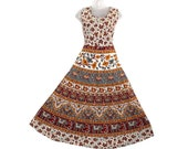 Indian Women Dress Maxi Long Bohemian Handmade Hippie Cotton Mandala Ethnic Gypsy Boho Strapless Comfy Sleeveless Elephant Print Dresses