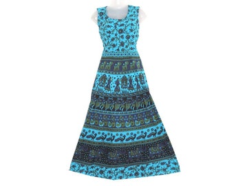 5c12a5a57e Indian Women Dress Maxi Long Bohemian Handmade Hippie Cotton Mandala Ethnic  Gypsy Boho Strapless Comfy Sleeveless Elephant Print Dresses