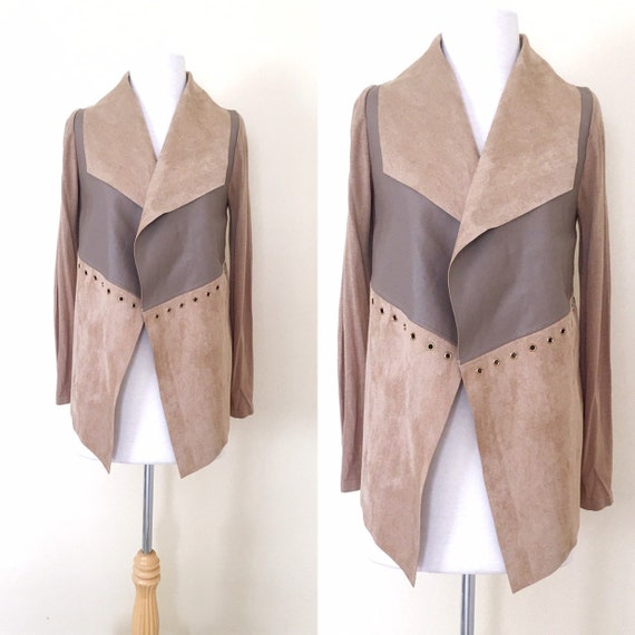 Vintage 80s 90s Boho style Faux Suede Faux Leather