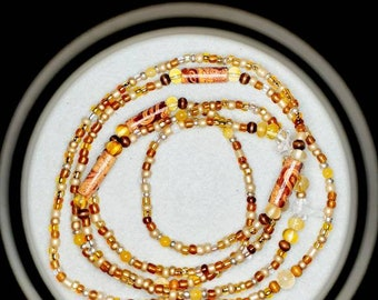 elastic or screw closure Jewelry Belly Chain weight loss beads tie on Citrine \u201cI Am Vitalized\u201d Waist Beads