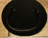 Large Black Hand Forged Antique Reproduction Trunk Chest Handles with Oval Backplates