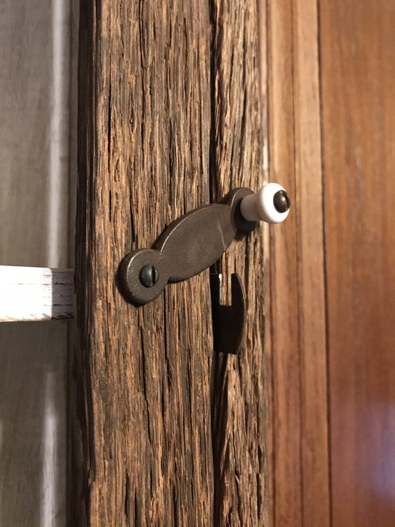 Early American Style Cabinet Latch with Porcelain Knob
