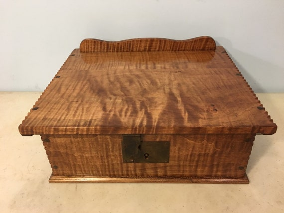 17th-18th Century Antique Reproduction Bible Book Box Hand forged Hasp Lock, Hinges and Three strike Nails.