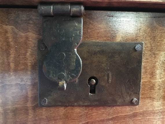 18th Century Antique Reproduction (B Style) Trunk Chest or Box Hasp Lock with Iron Key and nails
