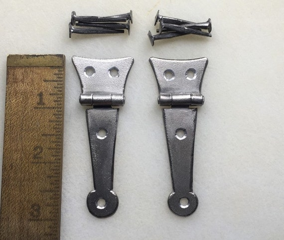 Small Half Strap Hinge with Forged Head Iron Nails