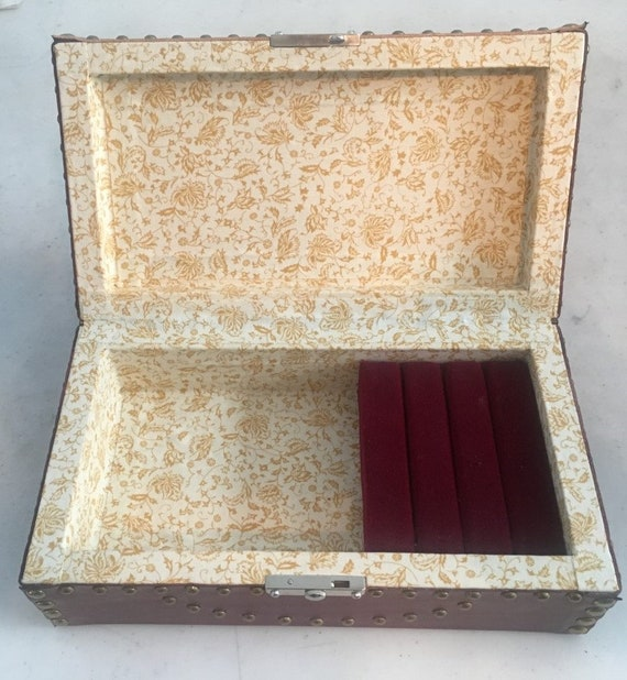 Leather Covered Jewelry Case with Traditional nailing pattern