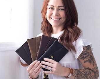 Womens Leather Wallet, Leather Clutch Wallet For Women, Wristlet Phone Wallet, Pocketbook Wallet - San Tan Leather