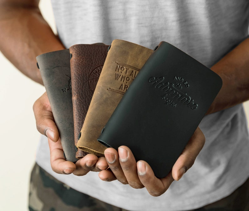 Small Leather Journal Refillable Pocket Notebook Mini Small Black
