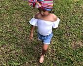 Baby girl serape head wrap, serape bow, cinco de mayo headband, fiesta head wrap. Baby girl topknot, Mexican