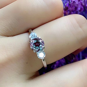 2Ct Alexandrite Engagement Ring Hexagon Cut 18K Rose Gold Plated 925 Sterling Silver Promise Ring for Women
