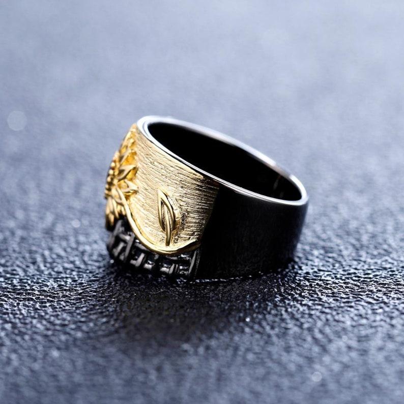 Garnet Engagement Ring Sunflower Ring Gemstone Ring for Women January Birthstone Ring Dainty Flower Ring Sterling Silver Daisy Ring