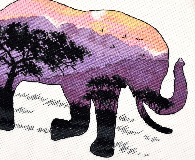 African Elephant Cross stitch embroidery kit for beginners