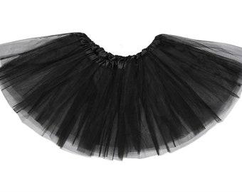 BLACK TUTU Hen Party Fancy Dress Costume Accessories Short with Elastic Waist