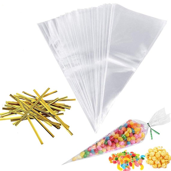 """Party Bags With 4/"""" Gold Twist Ties 2018 CLEAR Plain Cone Cellophane Sweet"""